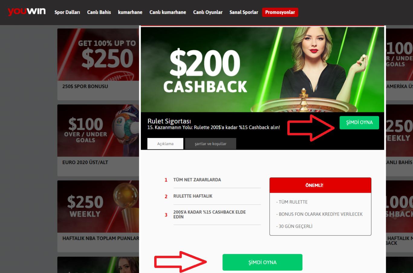 Youwin Para Yatırma Bonusu Bilgileri